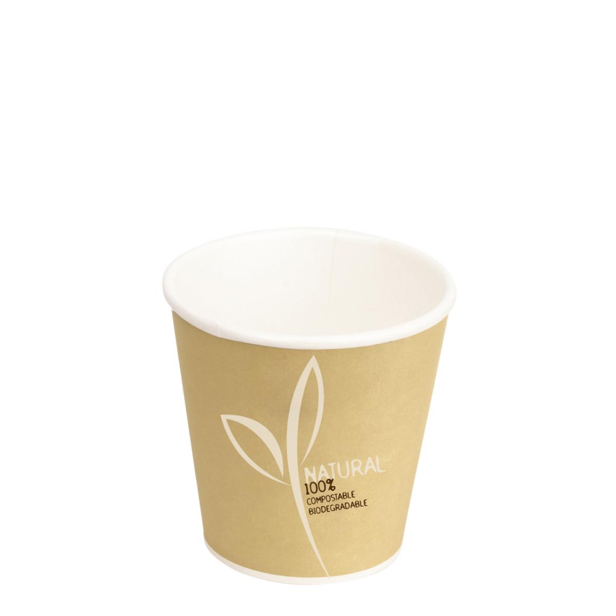 Bicchieri per caff in cartoncino e pla 120ml colore avana for Bicchieri caffe