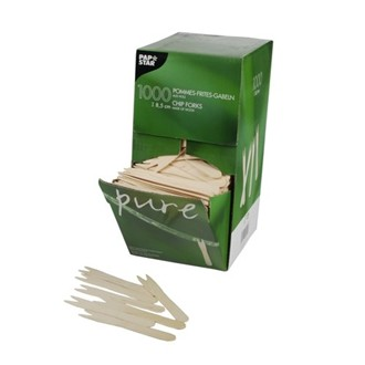 Forchettine in legno FSC h 8,5 cm per patatine e snack