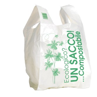 Shopper compostabile in Mater-bi bianco 27+7+7x50 8 g